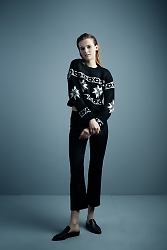 Cropped Snowflake Sweater in black with white