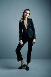 Peaked Lapel Blazer and Cropped Flare Pant in black satin